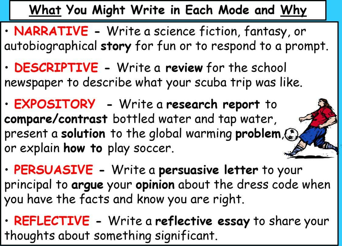 What You Might Write in Each Mode and Why • NARRATIVE - Write a science