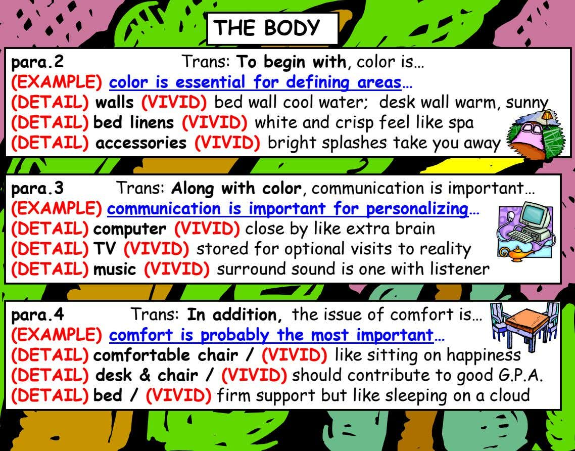 THE BODY para.2 Trans: To begin with, color is… (EXAMPLE) color is essential for defining