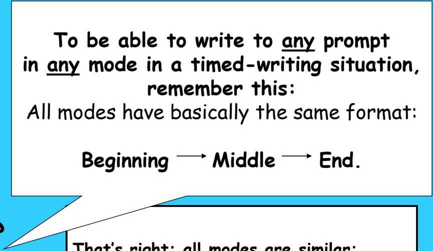 To be able to write to any prompt in any mode in a timed-writing situation,
