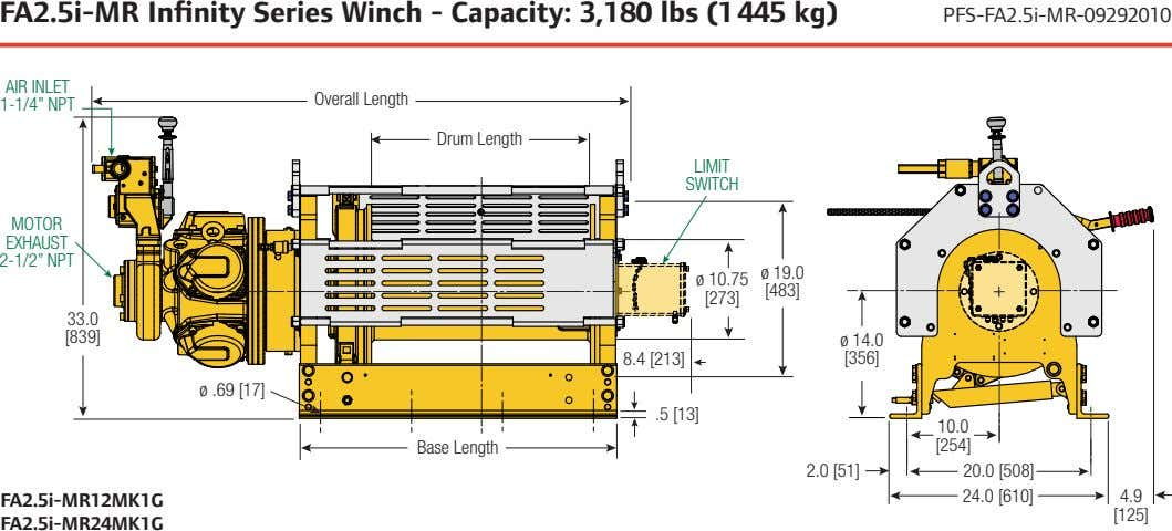 FA2.5i-MR Infinity Series Winch - Capacity: 3,180 lbs (1 445 kg) PFS-FA2.5i-MR-09292010 AIR INLET Overall