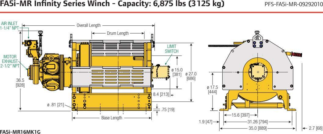 FA5i-MR Infinity Series Winch - Capacity: 6,875 lbs (3 125 kg) PFS-FA5i-MR-09292010 AIR INLET Overall