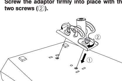 the adaptor firmly into place with the two screws ( 2 ). Turn the mixer right-side