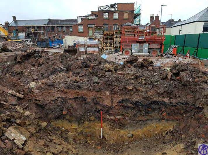Portland Mill, Leek Plate 9: View south of trench section observed during foundation removal. Note made