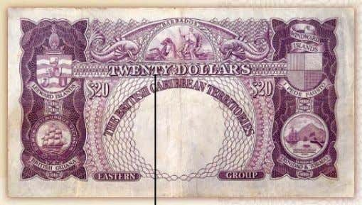 $20 Note – Colour Purple Signatures of Chairman and two members of the BCCB Denomination in