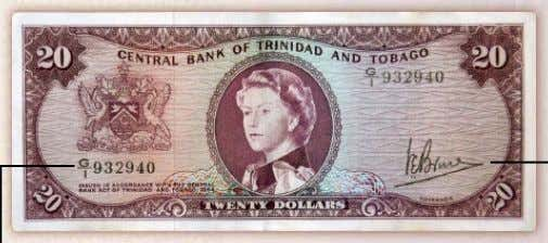$20 note – Colour Purple Fractional Serial Numbering Governor's Signature Solid Security Thread Cameo of Cocoa