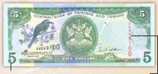 $5 Note – Colour Green Denomination in Enlarged Numeral at Bottom Left and Right Vertical Numbering