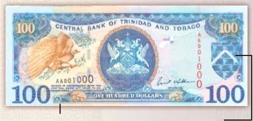 "$100 Note – Colour Blue Bleed-Off edges with Words ""Central Bank of Trinidad and Tobago"" in"