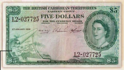 $5 Note – Colour Green Map of the Caribbean Sea on Scroll with Palm Trees in