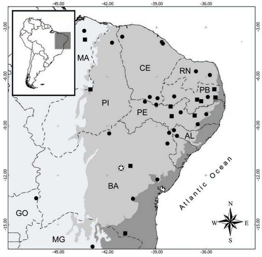 SPECIES OF THE FROG GENUS CORYTHOMANTIS FROM NE BRASIL 9 Fig.5- Map of the geographic distribution