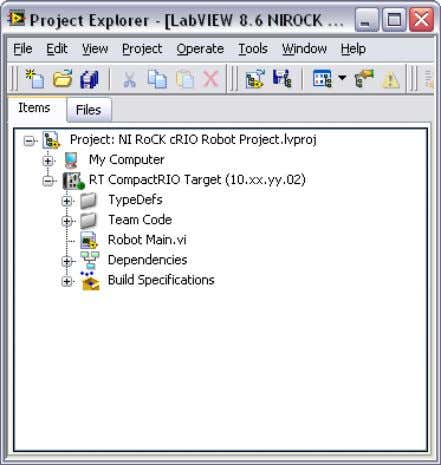 project in the Project Explorer window, shown as follows. Figure 4-1. NI RoCK Robot Projects Notice