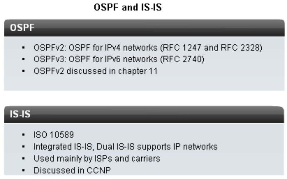 (OSPF) – Intermediate System-Intermediate System (IS-IS) Multi-areas OSPF and IS-IS are discussed in CCNP H ọ