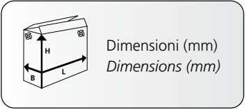 H Dimensioni (mm) L Dimensions (mm) B