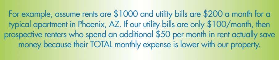 For example, assume rents are $1000 and utility bills are $200 a month for a