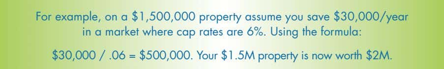 For example, on a $1,500,000 property assume you save $30,000/year in a market where cap