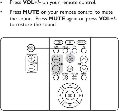 Press VOL+/- on your remote control. Press MUTE on your remote control to mute the
