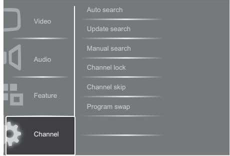 Auto search Video Update search Manual search Audio Channel lock Channel skip Feature Program swap