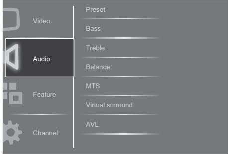 Preset Video Bass Treble Audio Balance MTS Feature Virtual surround AVL Channel