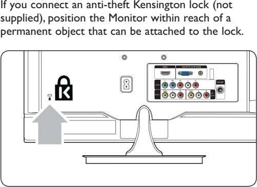 If you connect an anti-theft Kensington lock (not supplied), position the Monitor within reach of