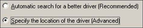 "the location of the driver"". Click [ Next ] button. 3. Choose ""Specify a location"". 4."