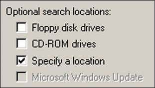 "Choose ""Specify a location"". Click [ Next ] button. 4. Insert the driver CD into the"