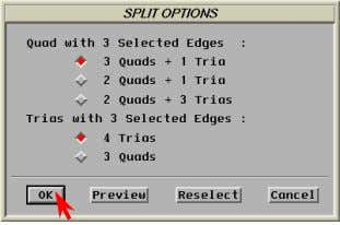 button. The Split Options window appears. Press OK . Note that the split operation left two