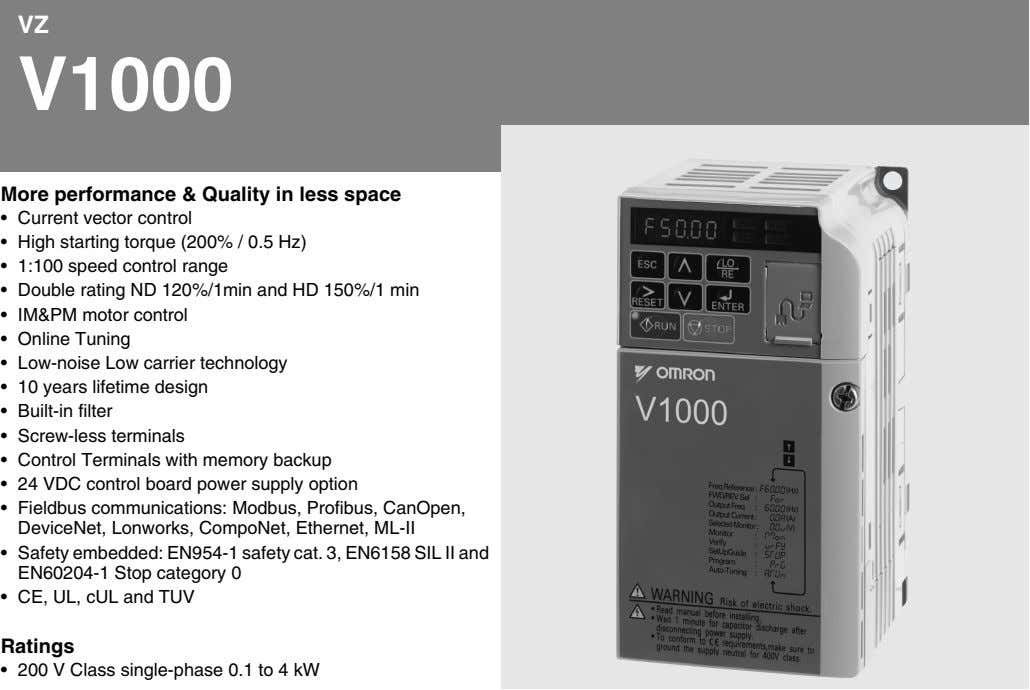 VZ V1000 More performance & Quality in less space • Current vector control • High