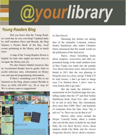 @yourlibrary Young Readers Blog Did you know that the Young Read- ers room has its