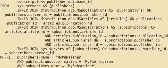 subscriptions.publisher_database_id FROM sys.servers AS [publishers] INNER JOIN distribution.dbo.MSpublications AS