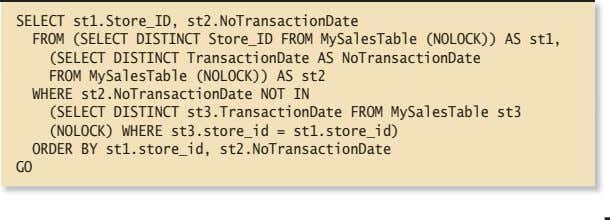 SELECT st1.Store_ID, st2.NoTransactionDate FROM (SELECT DISTINCT Store_ID FROM MySalesTable (NOLOCK)) AS st1, (SELECT