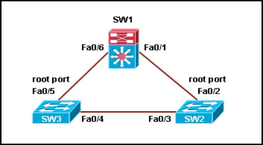 guard are properly configured on all distribution links. Refer to the exhibit. Switch SW1 is receiving