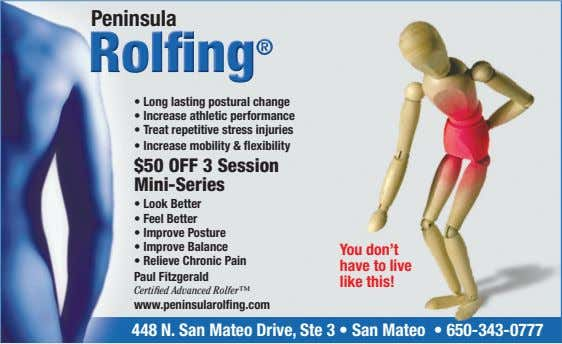 Peninsula T e $50 OFF 3 Session Mini-Series F P Pain Y P C e