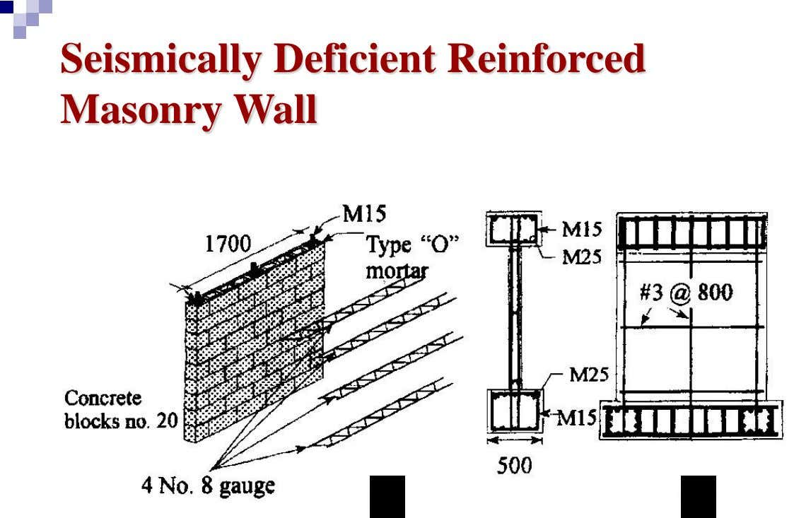 Seismically Deficient Reinforced Masonry Wall