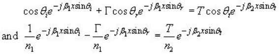 of tangential field components at the boundary i.e. z=0 (41) If both and We find that