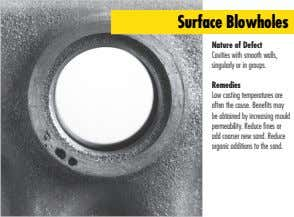 Surface Blowholes Nature of Defect Cavities with smooth walls, singularly or in groups. Remedies Low casting