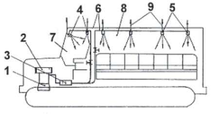 "the working zone: a powerful excavator at Ust- Talovka mine. Fig. 7. ""Multi-point"" cooling of cabin"