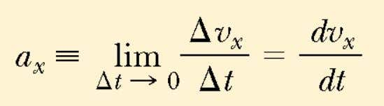 the instantaneous acceleration equals the derivative of the velocity with respect to time, 11