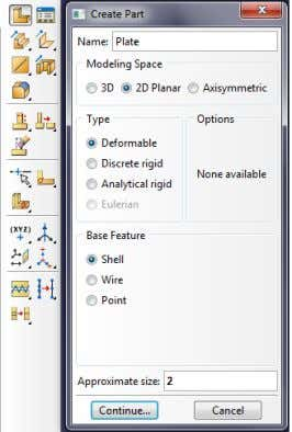 Figure 3: Create Part 1. Select Part module. Click on the Create Part . A