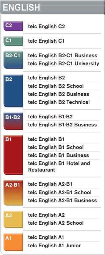 ENGLISHENGLISHENGLISH C2C2C2 telc English C2 C1C1C1 telc English C1 B2·C1B2·C1B2·C1 telc English B2·C1 Business