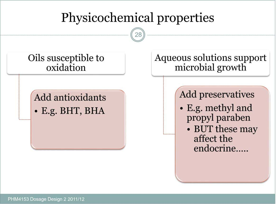 Physicochemical properties 28 Oils susceptible to oxidation Aqueous solutions support microbial growth Add preservatives Add antioxidants