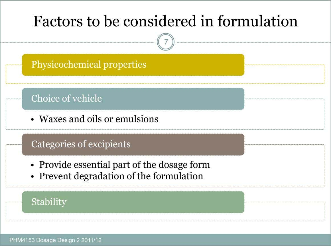 Factors to be considered in formulation 7 Physicochemical properties Choice of vehicle • Waxes and oils