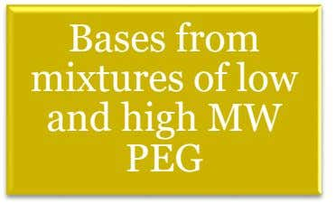 Bases from mixtures of low and high MW PEG