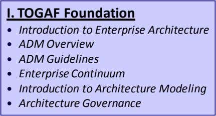 I. TOGAF Foundation Introduction to Enterprise Architecture ADM Overview ADM Guidelines Enterprise Continuum