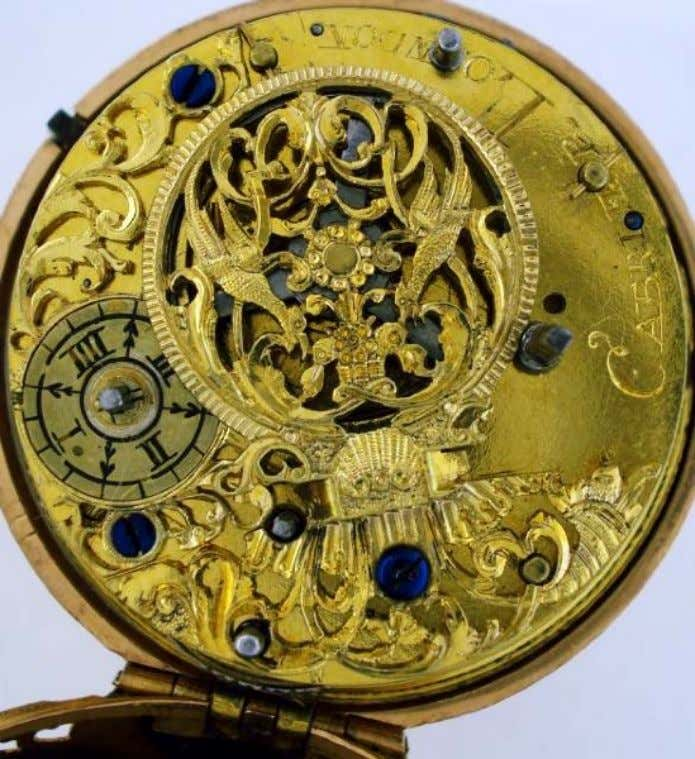 English Gold Repousse Pair Cased Watch with Verge Movement by Cabrier of London 1740 (Cogs