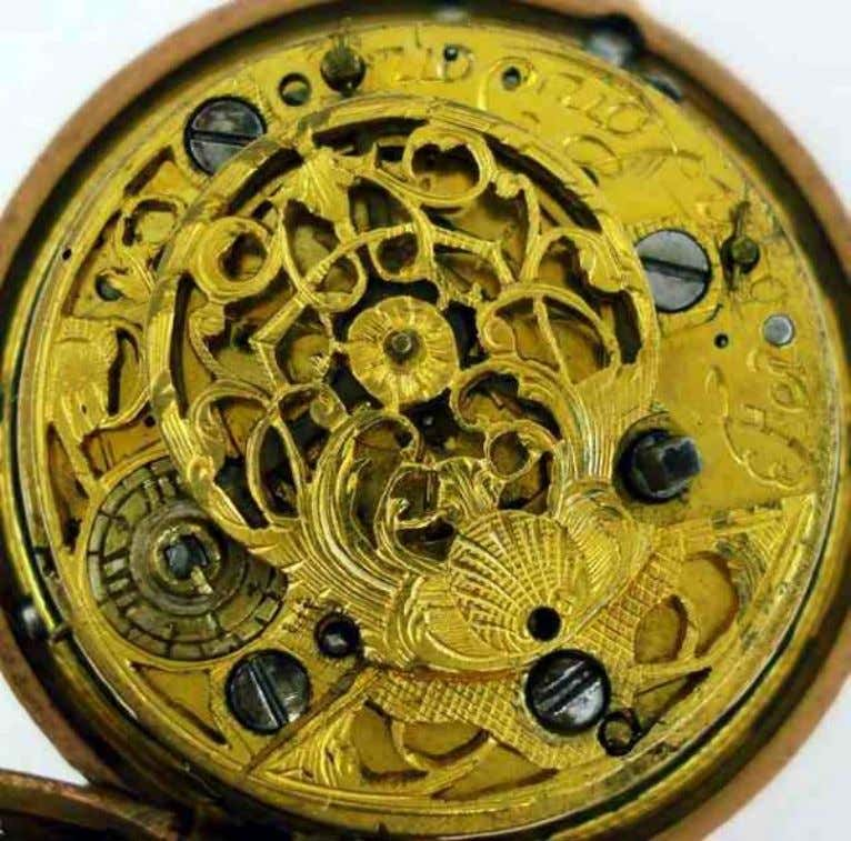 English Gold Repousse Pair Cased Watch with Verge Movement by Feron of London c. 1740
