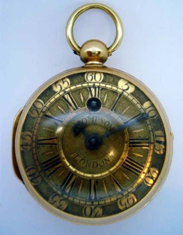 English Gold Repousse Pair Cased Watch with Verge Movement by Isaac Thomson of London c.