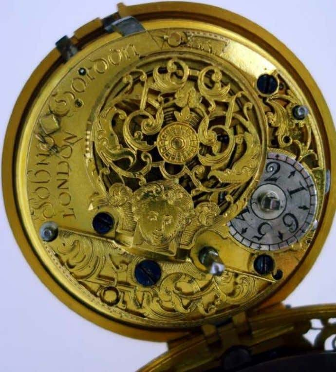 English Gold Repousse Pair Cased Watch with Verge Movement by John Gardner c. 1720 (Cogs