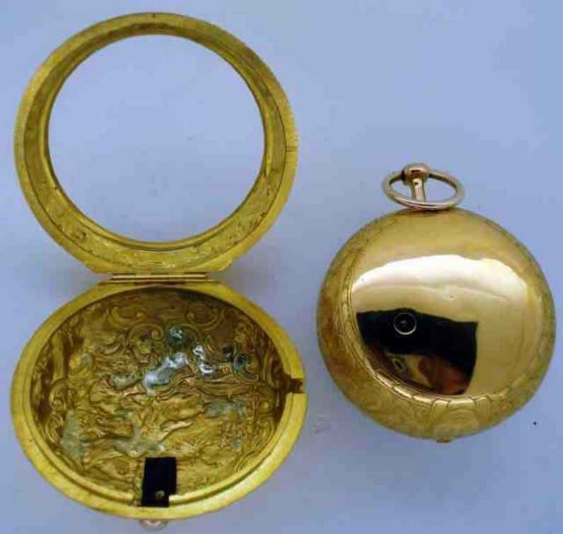 English Gold Repousse Pair Cased Watch with Verge Movement by Sam Atkins of London 1746