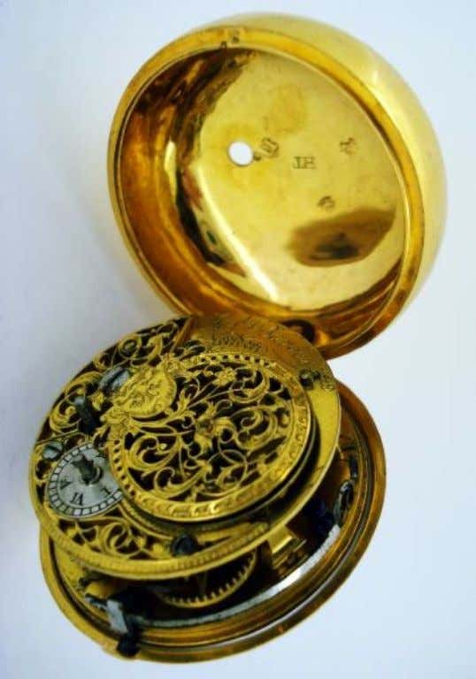 English Gold Repousse Pair Cased Watch with Verge Movement by Joseph Barber of London 1748