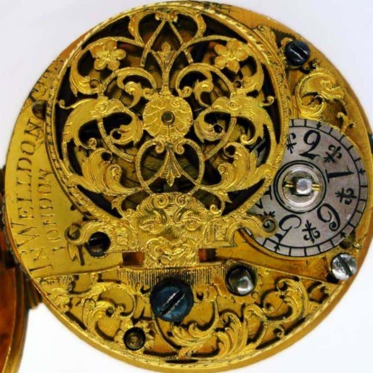 English Gold Repousse Pair Cased Watch with Verge Movement by John Weldon of London 1728