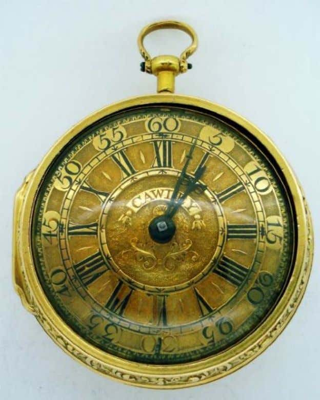English Gold Repousse Pair Cased Watch with Verge Movement by Robert Cawley of Chester c.